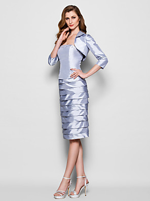 Sheath / Column Plus Size / Petite Mother of the Bride Dress Knee-length 3/4 Length Sleeve Taffeta with Beading / Ruching