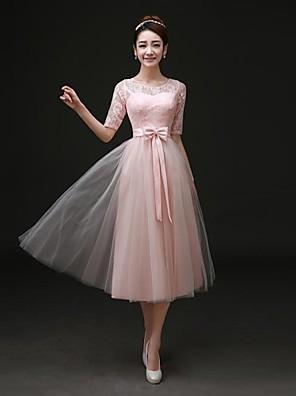 Formal Evening Dress A-line Bateau Tea-length Satin with Bow(s) / Lace