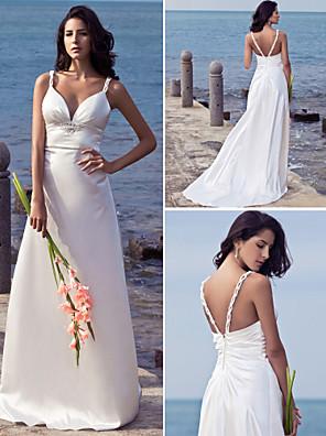 Lanting Bride® Pouzdrové Drobná / Nadměrné velikosti Svatební šaty - Elegantní & moderní Dlouhá vlečka Popruhy Elastický satén s Korálky