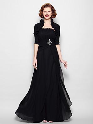 Lanting Bride® A-Linie Větší velikosti / Malé Šaty pro matku nevěsty - Včetně bolerka Na zem Poloviční rukáv Šifón - Korálky / Nabírání