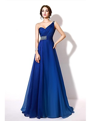 Evento Formal Vestido - Gradiente de Color Corte en A Sobre un Hombro Hasta el Suelo Raso con Cuentas / Detalles de Cristal