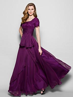 Lanting Bride® Linha A Tamanhos Grandes / Mignon Vestido Para Mãe dos Noivos Longo Manga Curta Chiffon / Renda - Laço(s) / Renda / Faixa