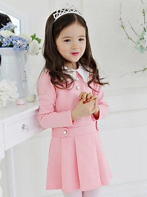 Girl's Spring/Fall Micro-elastic Medium Dresses (Cotton)