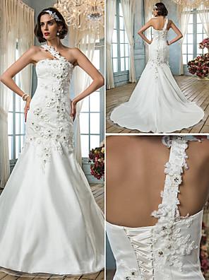 Lanting Bride Trumpet/Mermaid Petite / Plus Sizes Wedding Dress-Court Train One Shoulder Tulle