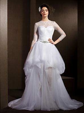 Lanting Bride® גזרת A קטן / מידה גדולה שמלת כלה  שמלות חתונה שתיים באחת שובל קורט עם תכשיטים תחרה / טול עם