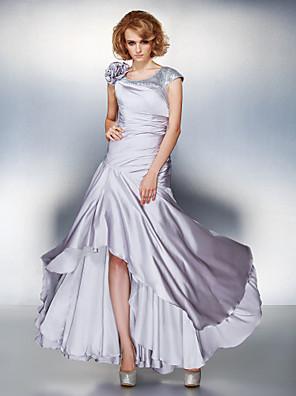 Lanting Bride® A-Linie Větší velikosti / Malé Šaty pro matku nevěsty - Šněrování Asymetrické Krátký rukáv Saténový šifon - Květina(y) /
