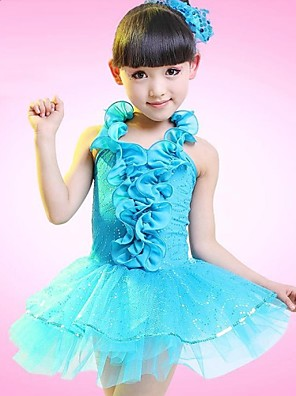 ריקוד לטיני שמלות בגדי ריקוד ילדים ביצועים פוליאסטר פרח (ים) בלי שרוולים טבעי 110:60cm,120:64cm,130:68cm,140:72cm,150:76cm