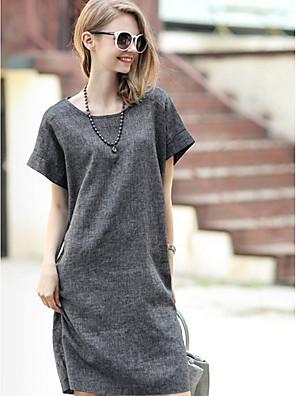 יומיומי / עבודה עגול - שרוול קצר - נשים - שמלות ( פוליאסטר/כותנה )