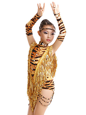 Dança Latina Vestidos Mulheres / Crianças Actuação / Treino Fibra de Leite Borla(s) / Estampado Animal 4 PeçasLuvas / Vestidos / Fita de