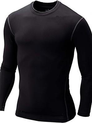 חולצת ג'רסי לרכיבה לגברים שרוול ארוך אופניים נושם / ייבוש מהיר / דחיסה טי שירט / צמרות ספנדקס / פוליאסטר / אלסטיין אופנתי / רזה / אחיד