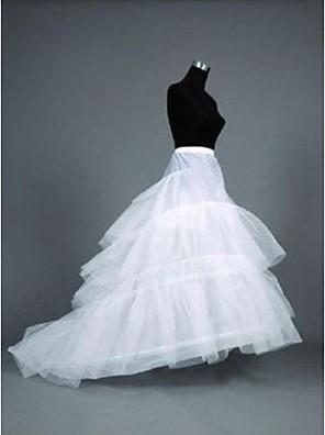 תחתונית  בת ים וסליפ שמלת חצוצרה / שובל קפלה אורך עד לרצפה / Cathedral-Length 3 פוליאסטר לבן