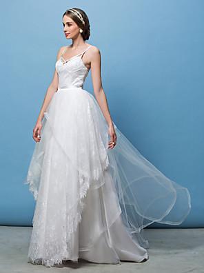 Lanting Bride® A-Linie / Princess Drobná / Nadměrné velikosti Svatební šaty Svatební šaty dva v jednom Dlouhá vlečka Špagetová ramínka