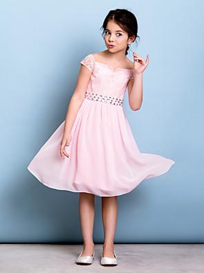 Lanting Bride® באורך  הברך שיפון / תחרה שמלה לשושבינות הצעירות  גזרת A מתחת לכתפיים עם פפיון(ים) / פרטים מקריסטל / סרט