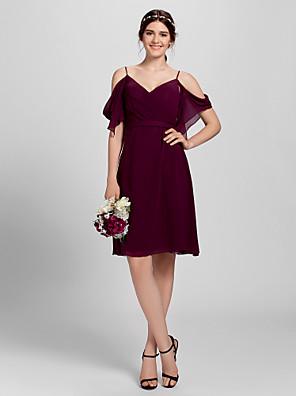Lanting Bride® Ke kolenům Šifón Šaty pro družičky - A-Linie Špagetová ramínka Větší velikosti / Malé s Křížení