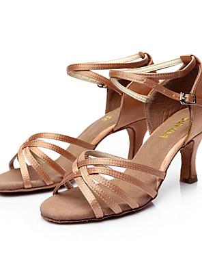 zon lisa latin salsa's aanpasbare vrouwen sandalen satijn gesp dans schoenen (meer kleuren)