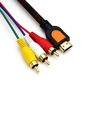 5 pés 1.5m hdmi macho para macho 3RCA adaptador conversor de cabo de extensão para hdtv dvd