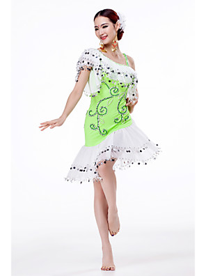 Fantasias Vestidos Mulheres Actuação Chifon Paetês / Bordado / Camadas 1 Peça Sem Mangas Vestidos M:100cm,L:105cm