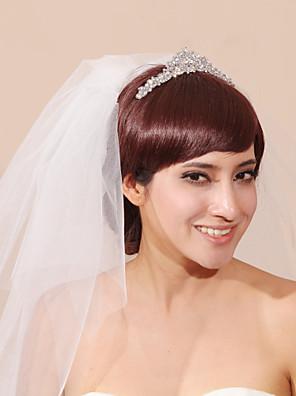 Bruidssluiers Drielaags Hoofddeksels met sluier Potloodrand Tule Wit Wit