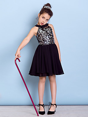 Knee-length Chiffon / Sequined Junior Bridesmaid Dress A-line Jewel with Sequins