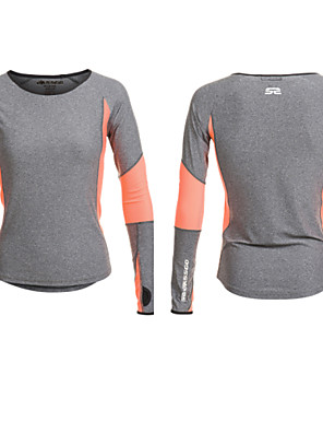 Corrida Camiseta / Blusas Mulheres Manga Comprida Respirável / Permeável á Humidade / Secagem Rápida / Redutor de SuorElastano / Náilon