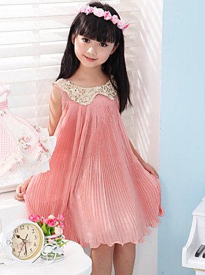Girl's  Fashion Leisure  Sleeveless Bowknot Dress