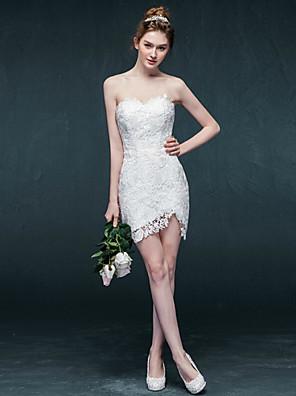 시스 / 칼럼 웨딩 드레스 숏 / 미니 스윗하트 레이스 와