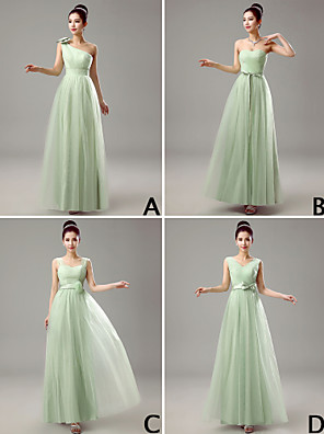 Dress Sheath / Column V-neck Floor-length Tulle with Crystal Detailing
