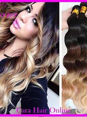 3pcs veel 14-26 inch brazilian ombre hair extensions lichaam wave kleur 1b / 27/04 menselijk haar weave inslag