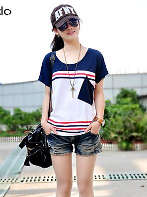 Mulheres Camiseta Casual Simples / Moda de Rua Verão,Estampado / Patchwork Azul / Vermelho / Preto / Cinza / Laranja AlgodãoDecote