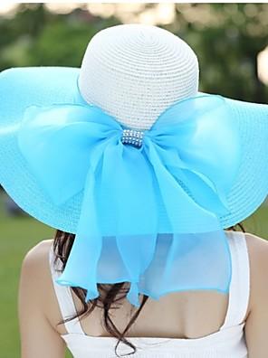 נשים יום יומי קיץ פשתן/קש כובע עם שוליים רחבים