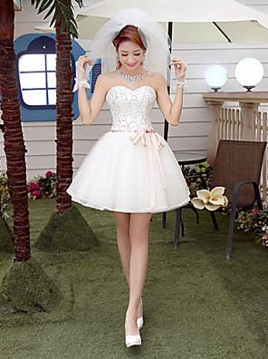 Linha A Vestido de Noiva Curto / Mini Coração Tule com