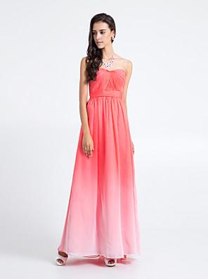 Lanting Bride® Na zem Šifón Barevná záře Šaty pro družičky - Pouzdrové Bez ramínek Větší velikosti / Malé s Křížení