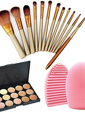 12pcs profissionais pincéis de maquiagem cosméticos set + corretivo paleta 15colors + 1pcs ferramenta de limpeza escova
