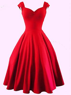 קיץ כותנה / פוליאסטר / אחרים אדום / שחור ללא שרוולים עד הברך לב (סוויטהארט) אחיד סקסי / וינטאג' מסיבה\קוקטייל שמלה מידות גדולות / גזרת A