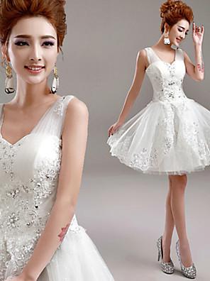 A-Linie Svatební šaty Krátký / Mini Do V Tyl s