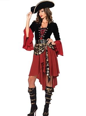 תחפושות קוספליי / תחפושת למסיבה פיראט פסטיבל/חג תחפושות ליל כל הקדושים אדום טלאים שמלה / חגורה / כובעהאלווין (ליל כל הקדושים) / קרנבל /