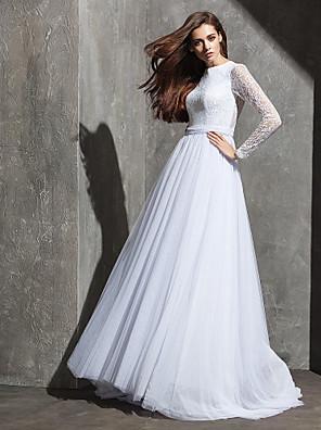 Lanting Bride® Linha A Pequeno / Tamanhos Grandes Vestido de Noiva Cauda Escova Decorado com Bijuteria Renda / Tule com