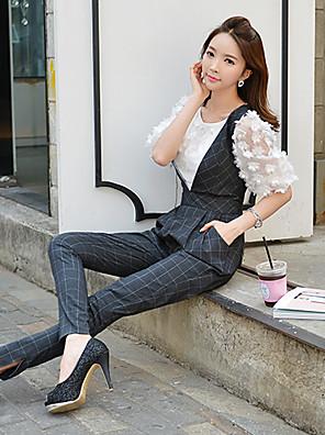 Pink Doll®Women's Deep V Casual OL Pleated Split Harem Slim Jumpsuits