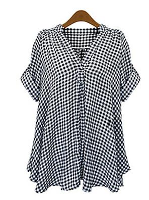 Mulheres Camisa Casual Simples Outono,Quadriculada Preto Poliéster Decote em V Profundo Manga Curta