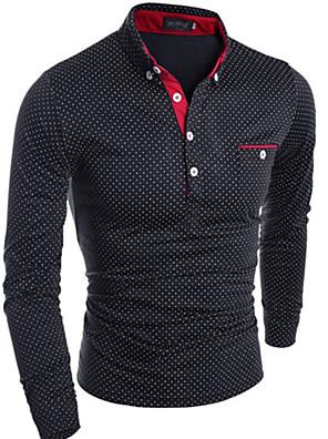 Effen-Informeel-Heren-Katoen-T-shirt-Lange mouw Zwart / Blauw / Wit