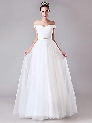 A-라인 웨딩 드레스 - 쉬크&모던 바닥 길이 오프 더 숄더 튤 와 크리스-크로스 / 허리끈 / 리본