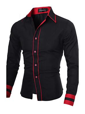 אנשיו של חולצה פסים / חלק תערובת כותנה שרוול ארוך יום יומי / עבודה / מידות גדולות שחור / כחול / אדום / לבן / אפור
