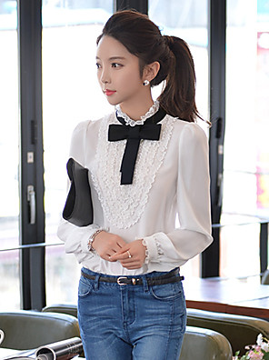 Pink Doll®Women's Stand Casual Lace Bow OL Puff Sleeve Shirt