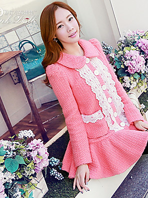 Pink Doll®Women's Casual Lace Patchwork Pocket Swing Long Sleeve Wool Coat