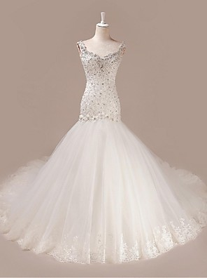 Trumpet / Mermaid Wedding Dress Court Train V-neck Tulle with Beading