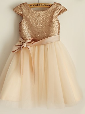 Princess Knee-length Flower Girl Dress - Satin / Tulle / Sequined Short Sleeve Scoop with