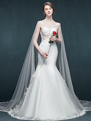 Sereia Vestido de Noiva Cauda Catedral Decote em U Tule com