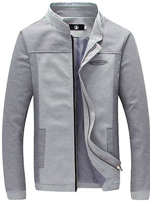Men's Long Sleeve Casual Jacket,Cotton Solid Blue / Gray
