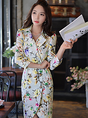 Pink Doll®Women's Shirt Collar Casual/Print/Party Asymmetrical Long Sleeve Trench Coat