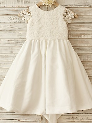 גזרת A באורך  הברך שמלה לנערת הפרחים - כותנה / תחרה שרוול קצר מחשוף עמוק עם